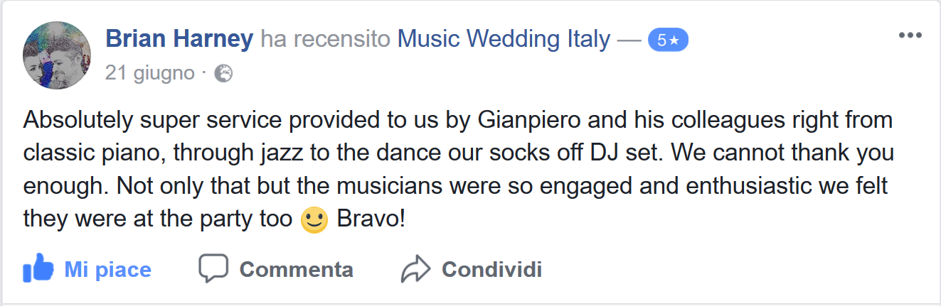 Brian Harney does the review for Romadjpianobar Music Wedding in Italy