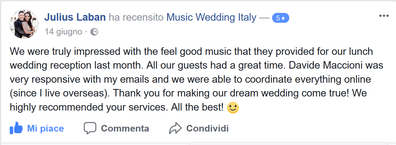Julius Laban groom reviews the music services received by Romadjpianobar Music wedding Italy for his wedding in Italy
