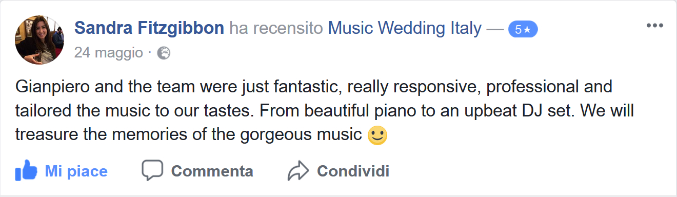 Sandra Fitzgibbon testimonials: Gianpiero and the team were just fantastic, really responsive, professional and tailored the music to our tastes. From beautiful piano to an upbeat Dj set. we will treausre the memories of the georgeous music