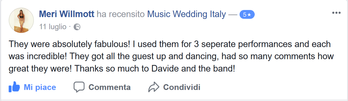 Mery Wilmott bride reviews the live band and live music of Romadjpianobar Music wedding Italy: absolutely fabolous!